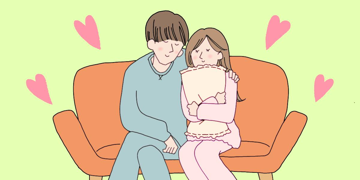週末同棲をしているカップルのイラスト