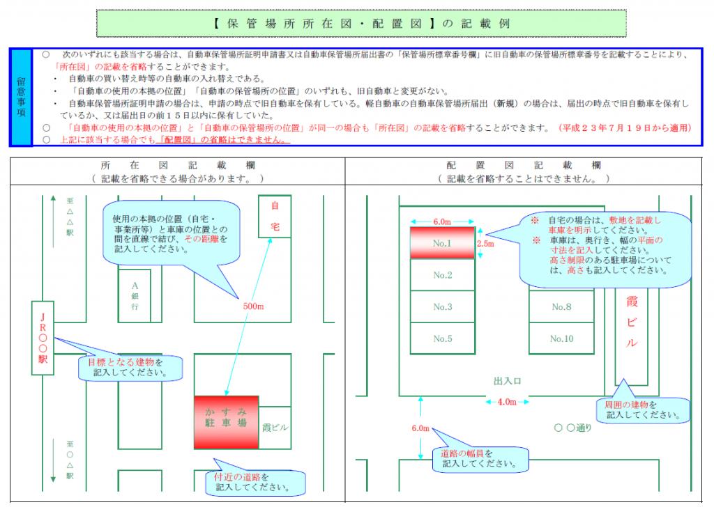 所在図・配置図の書き方例