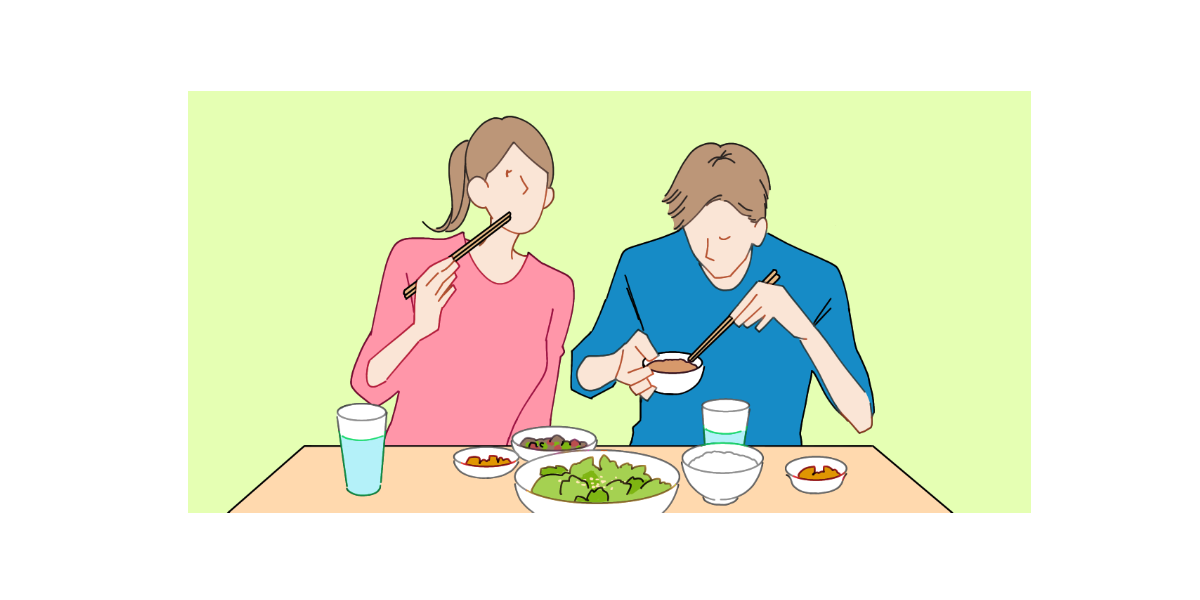 食事をしているカップルのイラストサムネイル