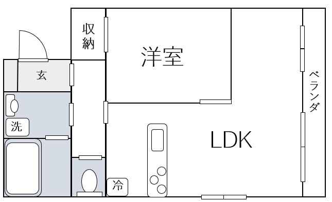 1LDKの間取り図例