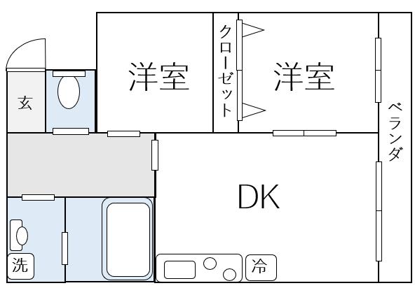 2DKの間取り図例