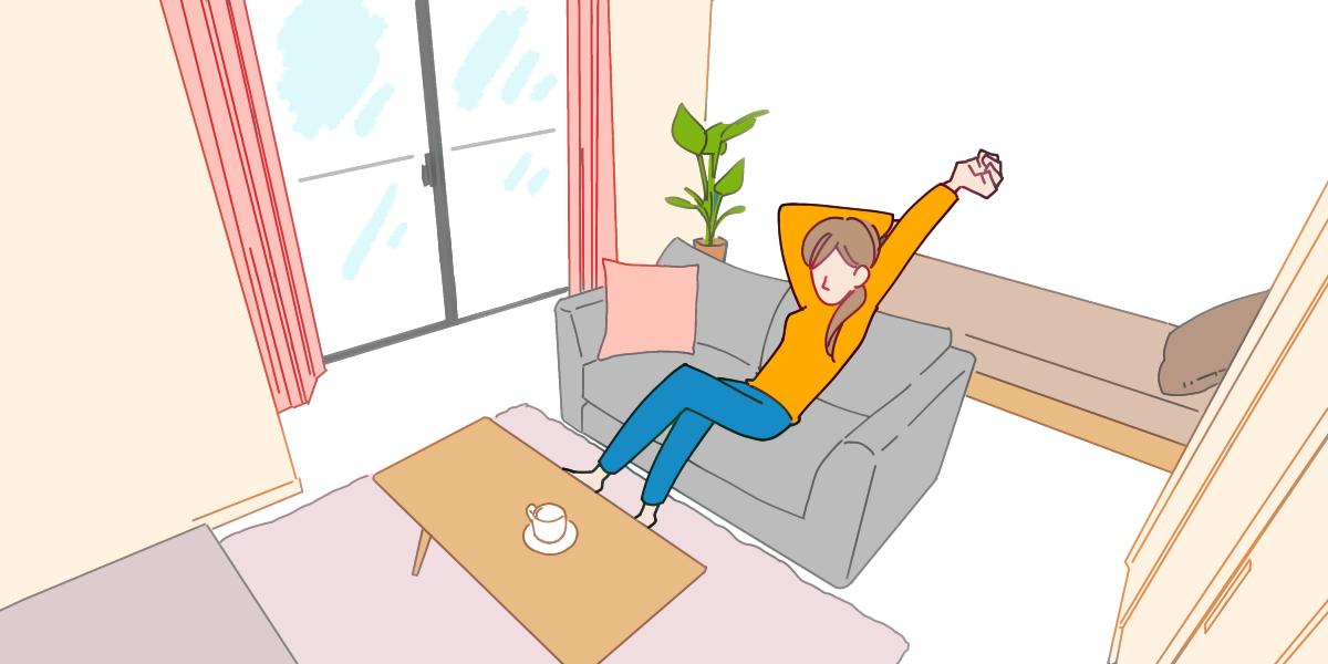 部屋の中にいる女性のイラスト