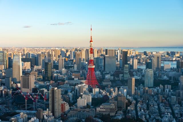 東京タワー周辺の上空写真