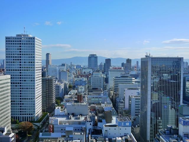 ビジネス街「本町」の上空写真